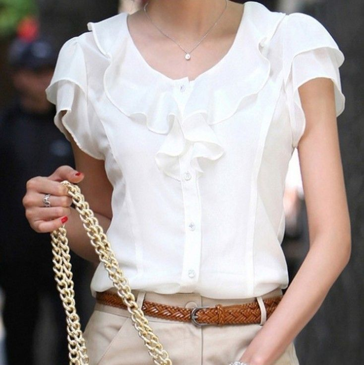 Cheap blouse chiffon, Buy Quality blouse lace directly from China shirt basic Suppliers:   2014 Summer New Korean Style Women Clothing Girl Casual Flower Lace Hollow Out Short Sleeve Chiffon Blouse & Shirt La