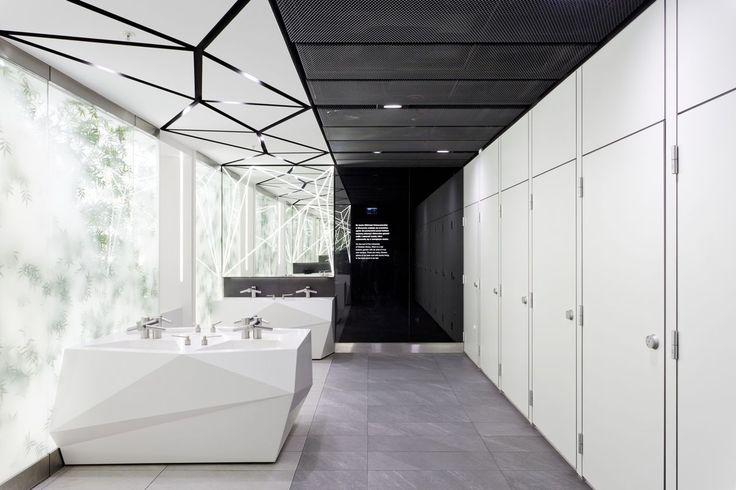 Design of the interior for public toilets and corridors in SC Złote Tarasy, stage 02. #geometric #minimal #zlotetarasy #architecture #design #interiors #art #light