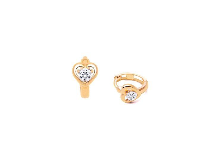 True Of Heart Huggie Hoop Baby Children S Earrings 14k Gold