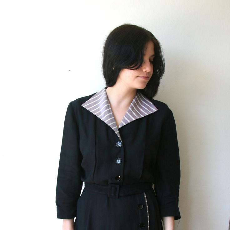SALE 40s Black Striped Button Up Dress With Belt Sz L. $42.00, via Etsy.