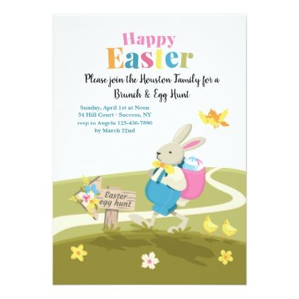Bunny On His Way Easter Invitation Easter invitations