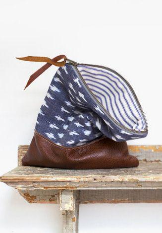 Tribal print leather clutch purse indigo blue women's bag