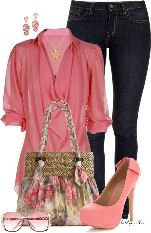 """""""Coral Pink"""" by bitbyacullen ❤ liked on Polyvore.... different jewelry, purse and shades though."""