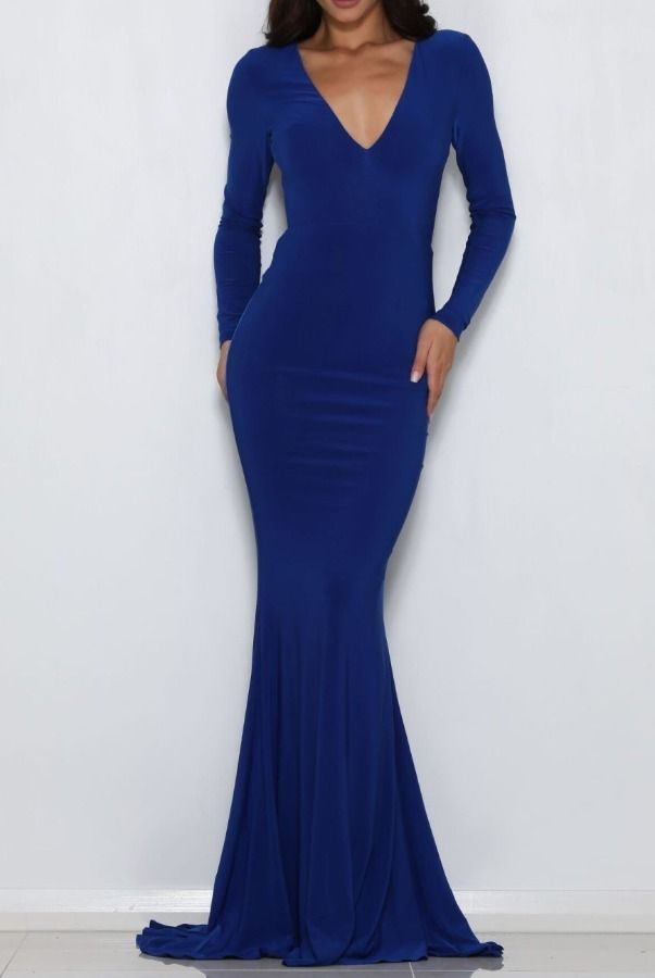 32d5744b9ee9 Abyss by Abby Moet Blue Long Sleeve Backless Gown evening Dress   Poshare