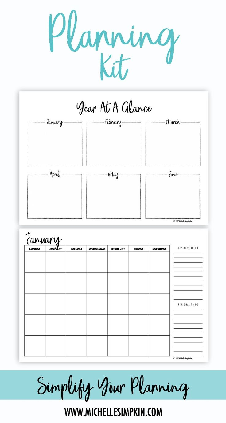 Simplify your planning with this Planning Kit. With it's ink-friendly design and reusable pages, you'll be planning your year, month, and week in no time! Click here for more details. Planning Kit | Planning | Planning Printable | Printable Planner | Planner #planningkit #planning #printable www.michellesimpkin.com/products/planningkit