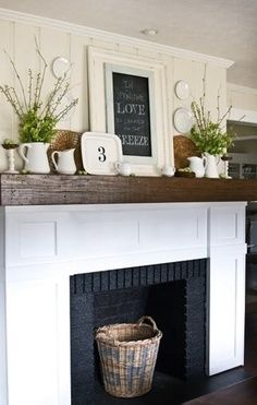 Mantel | Home | Design | Decor | Style | Fireplace…this looks very similar to our family room walls.  Like the chalkboard on the mantel