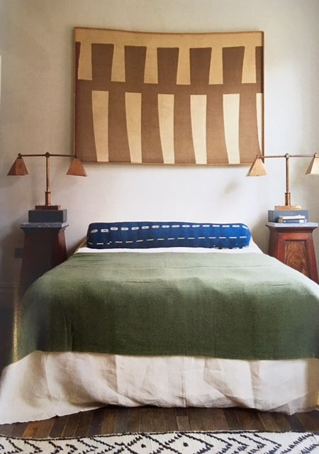Will Fisher's Spitalfields house, World of Interiors (January 2016), via Mark Sikes. Jamb. The throw on the bed is by Barcelona-based Texidors via Such and Such, http://shop.suchandsuch.co/collections/throws.