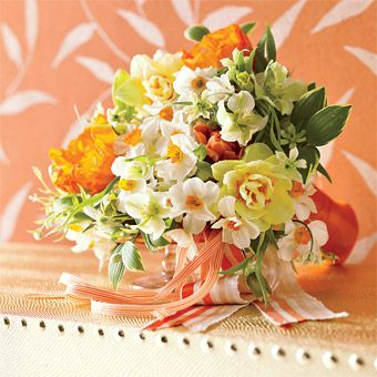 Put some spring in your step with a bouquet of narcissus, poppies, clematis, hellebore, fritillaria, and Solomon's Seal