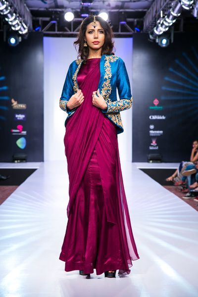 purple gown sari with jacket blouse , unique silhouette , cocktail night silhouette