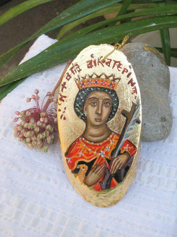 Saint Catherine of Alexandria  byzantine mini ornament icon