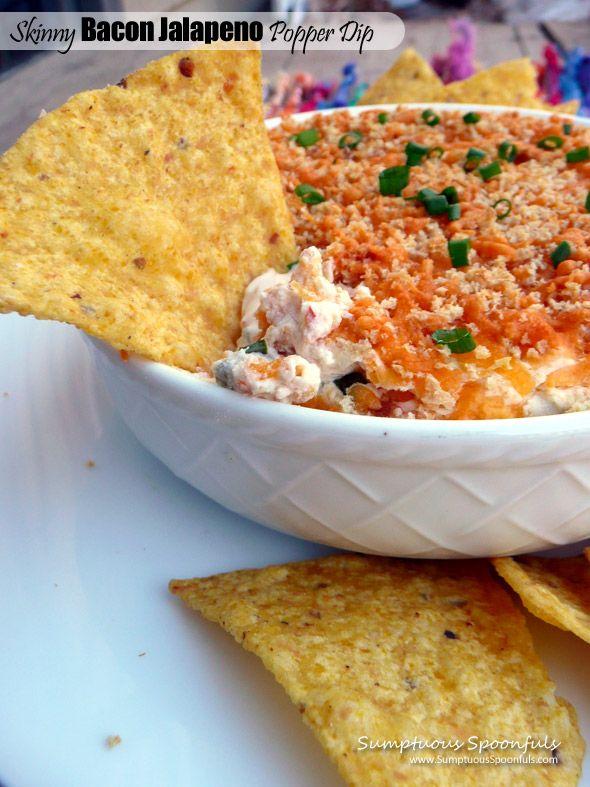 Skinny Bacon Jalapeno Popper Dip ~ Sumptuous Spoonfuls #healthier #appetizer #recipe