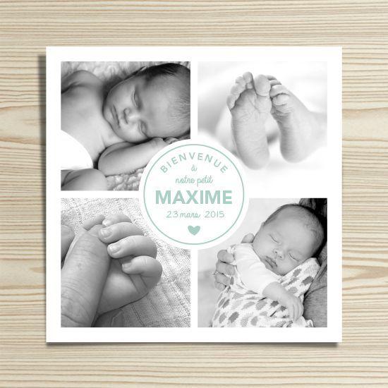 Tanni Lou - Faire-part naissance MAXIME | Modèle personnalisable gratuitement (texte et couleur)