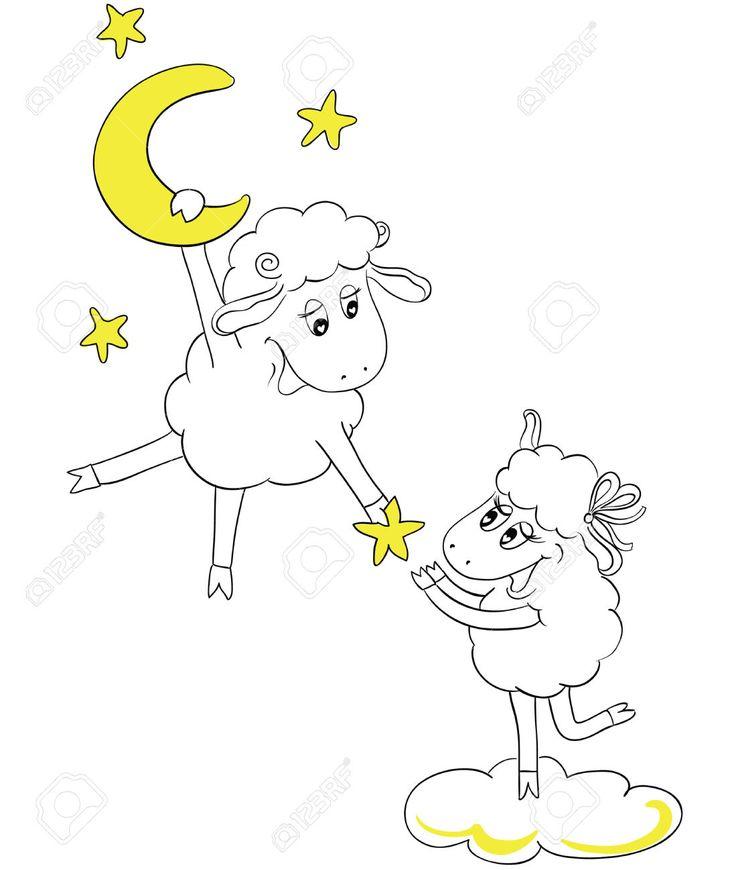 Счастливая пара овец в любви. Человек на Луне дает любимой женщины звезды. Идея для поздравительной открытки с Днем свадьбы или День святого Валентина. Мультфильм каракули векторные иллюстрации Клипарты, векторы, и Набор Иллюстраций Без Оплаты Отчислений. Image 30649506.