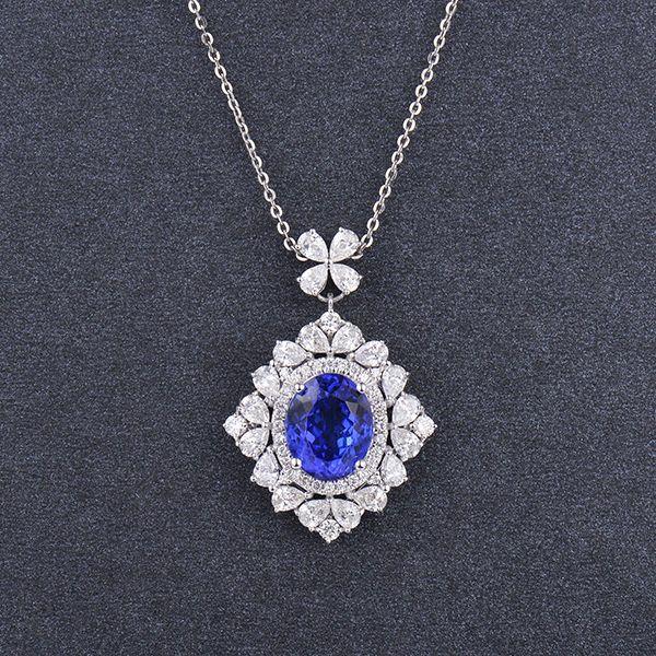 18k White Gold Oval Cut Blue AAAA Natural Sparkling Tanzanite Diamond Pendant #diamondmounts #Pendant