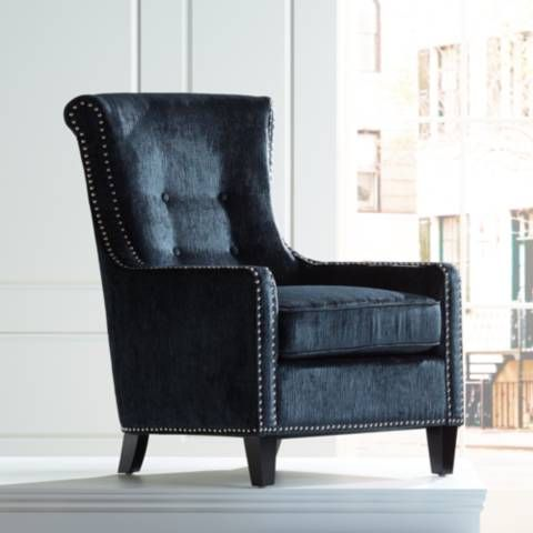 Chantelle Heather Dark Blue Accent Chair 19r49 Lamps Plus