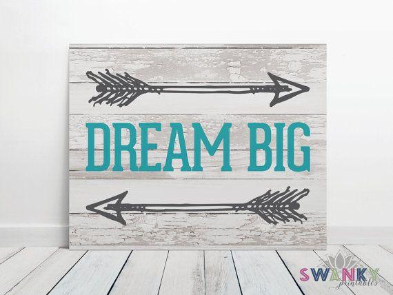 Dream Big Sign Wood Print Dream Big Nursery by SwankyPrintables