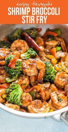 Healthy Teriyaki Shrimp Broccoli Stir Fry   Easy Chinese Food   30 minute dinner recipe   Fried Rice or Lo Mein   Easy Asian Family Dinner  via @my_foodstory