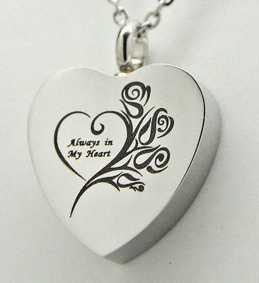 Always In My Heart Cremation Jewelry Roses Memorial Urn Necklace Keepsake Urns