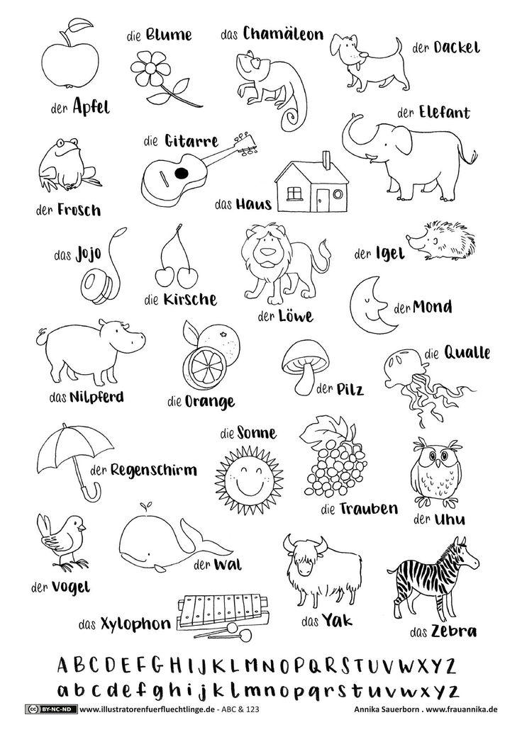 Download als PDF: ABC und 123 – ABC der Dinge – Sauerborn #printable #druckvorlage