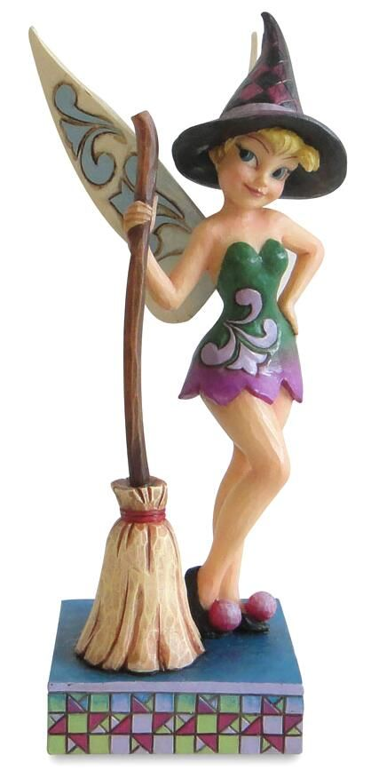"""Tinker Bell already has her Halloween costume! TINKER BELL DRESSED AS WITCH WITH BROOM FOR HALLOWEEN FIGURE (Jim Shore Disney Traditions) (from Walt Disney's """"Peter Pan"""")"""