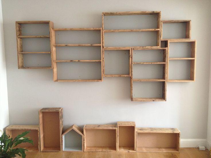 Reclaimed floor board box shelves.