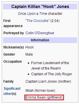 Captain Swan is canon and Wikipedia official now!