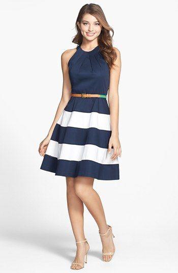 Vestido azul e branco | Vestido para festa de dia