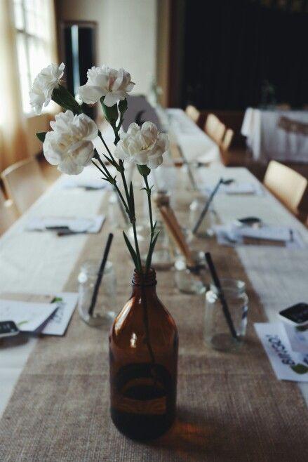 white carnations. wedding decoration.