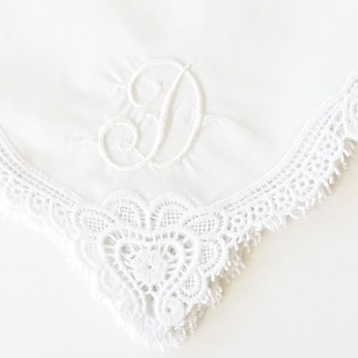 New Queen Anne Font On Irish Claddagh Cluny Lace Handkerchief