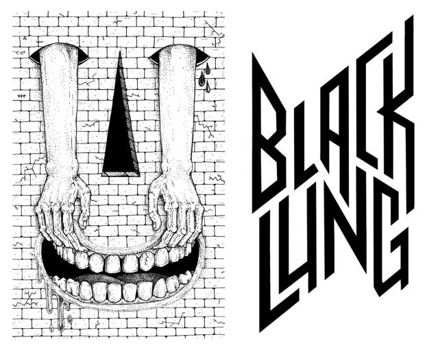 Cassette cover and logo font for Black Lung and Angry Africa Records by Black Koki