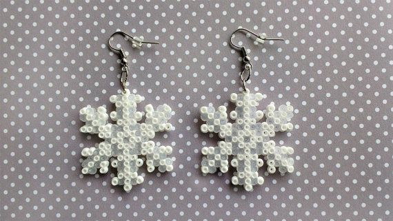 Winter Snowflake made from Perler beads/Hama beads/mini Hama beads by: 8BitEarrings on Etsy