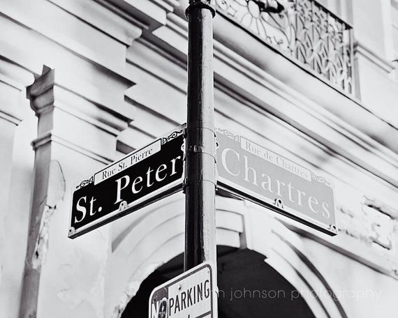 black and white new orleans art st peter street sign chartres street jackson square french quarter art new orleans photography by eireanneilis