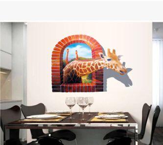3D Vivid Giraffe Window View Wall Sticker Africa kitchen wall decals Mural Vinyl Photo Frame Mural Wall Paper Decals 8007 #Affiliate