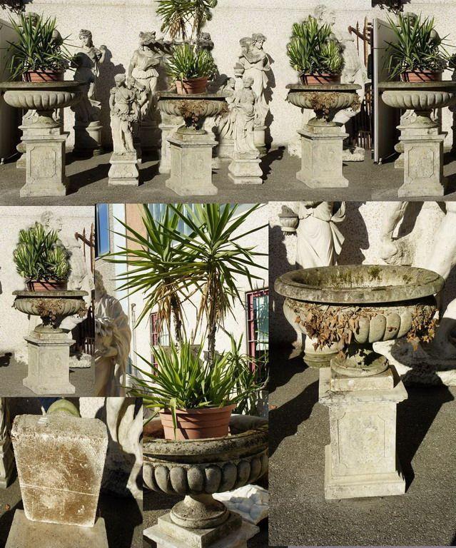 ANTIQUARIATO GOGNASRL: 4 vasi giardino,pietra di vicenza epoca 800 -0930170 7000