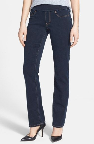 SO COMFORTABLE!  Liverpool Jeans Company 'Jill' Pull-On Straight Leg Jeans (Stone) available at #Nordstrom