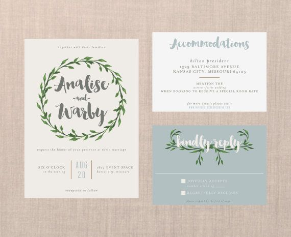 Whimsical Botanical Wreath Wedding Suite // DIY PRINTABLE Invite + RSVP // Modern Wedding, Botanical Wedding, Whimsical Wedding, Boho