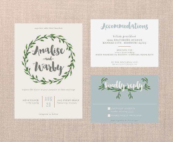 Whimsical Botanical Wreath Wedding Suite // DIY PRINTABLE Invite + RSVP // Modern Wedding, Botanical Wedding, Whimsical Wedding, Boho