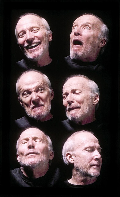 """BILL VIOLA American, born 1951 Six Heads, 2000, from """"The Passions"""" Color video on plasma display mounted on wall, edition of twelve, 40-3/16 x 24 x 3-1/2 in. (102.1 x 61 x 8.9 cm) © Bill Viola Courtesy James Cohan Gallery, New York Courtesy o ...(Find the best galleries in Manhattan on https://www.artexperiencenyc.com"""