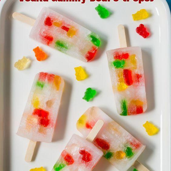 Vodka Gummy Bears Pops with vodka, gummy bears, sprite, freeze & enjoy popsicle!