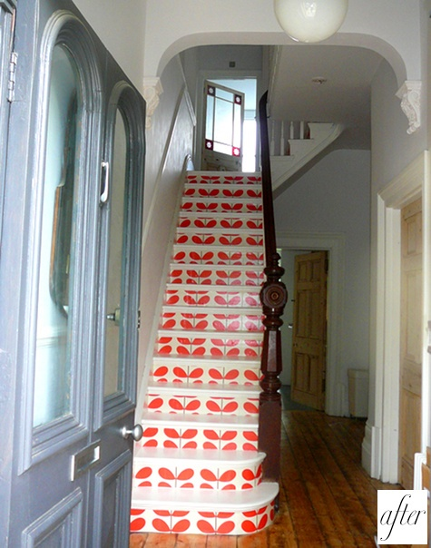 Painted Steps-- very cute! @Abbi Oakley Tyler Christensen  Let's lift the carpet on your stairs and do this!