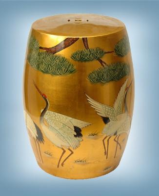 Japanese Cranes Gold Garden Stool