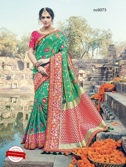 Green & Pink Silk Wedding Saree   Shop for sarees online at www.natashacouture.com   ❤️ Call / WhatsApp / Viber : +91-9052526627   Free Shipping in India   COD*   Worldwide Shipping   Authentic Quality Guaranteed ❤️