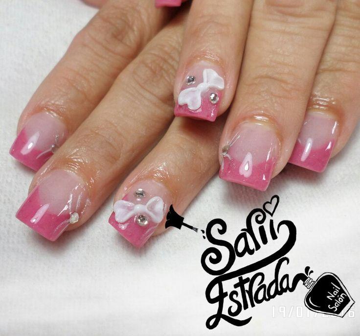 uas acrlicas punta cuadrada tcnica de reversa rosa coral