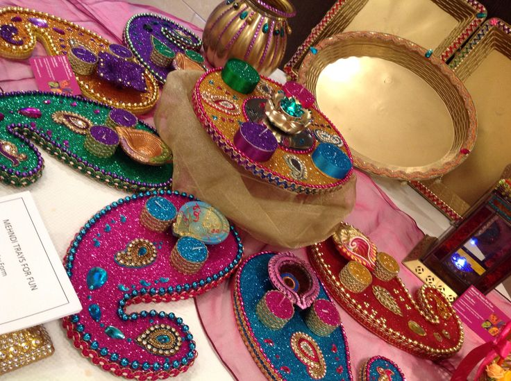 mehndi plates in a variety of colours, all hand made and bespoke. See www.facebook.com/mehnditraysforfun