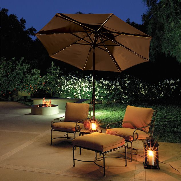 your umbrella isnu0027t just for the day equipped with led lights this patio furniture