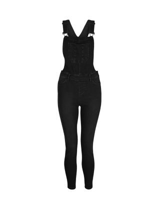 Black Denim Ankle Grazer Dungarees  | New Look