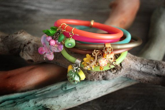 Rubber Cord Bracelet with Charms by chrikou on Etsy, €6.00