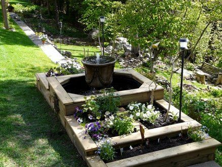 Tiered Raised Garden Bed With Fountain   Beautiful. But Maybe Not While Iu0027m  Still Renting