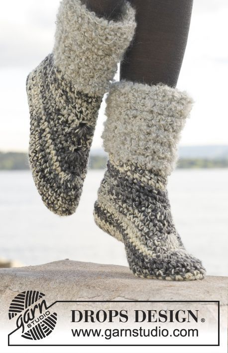 "pattern is free...amount shown is COST for YARN....scroll down for FREE pattern....Crochet DROPS slippers in ""Big Fabel"". ~ DROPS Design"
