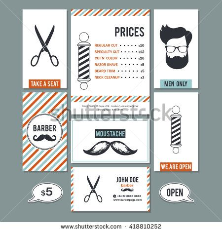 The 18 best barber shop design images on pinterest barber shop hair salon barber shop vintage sign and services prices design business cards template color set colourmoves